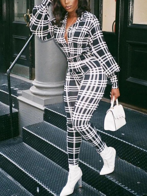 Plaid Print Fashion Full Length Slim Women's Jumpsuit