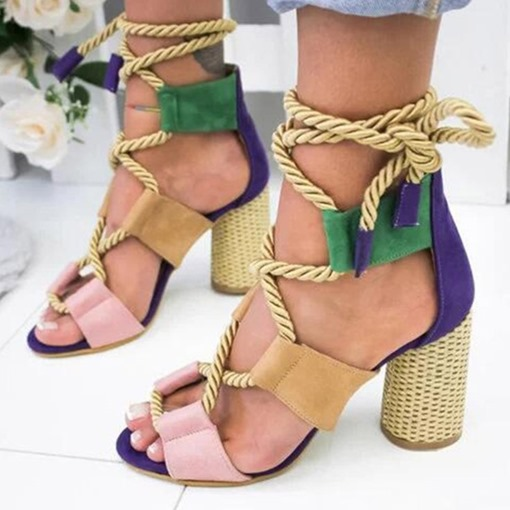 Open Toe Chunky Heel Lace-Up Casual Sandals