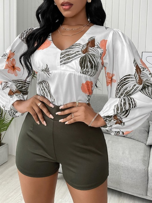 Print Floral Western Shirt V-Neck Women's Two Piece Sets