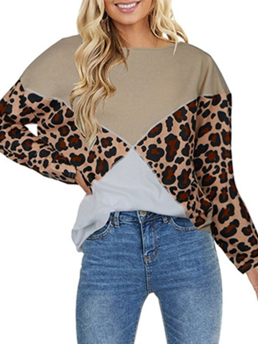 Regular Leopard Print Round Neck Women's Hoodie