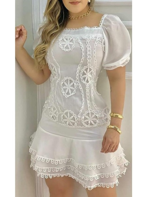 Square Neck Lace Above Knee Short Sleeve Summer Women's Dress