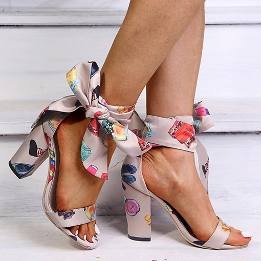 Chunky Heel Open Toe Lace-Up Sexy Sandals
