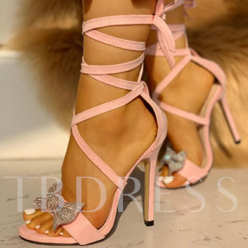 Ankle Strap Lace-Up Stiletto Heel Open Toe Bow Sandals