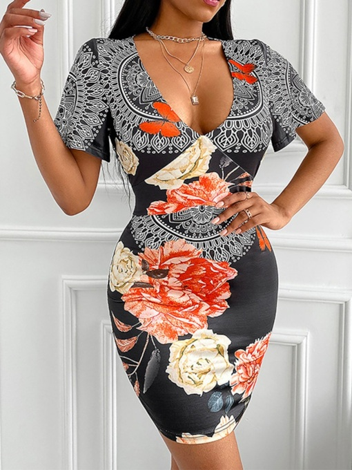 Short Sleeve Above Knee V-Neck Print Floral Women's Dress