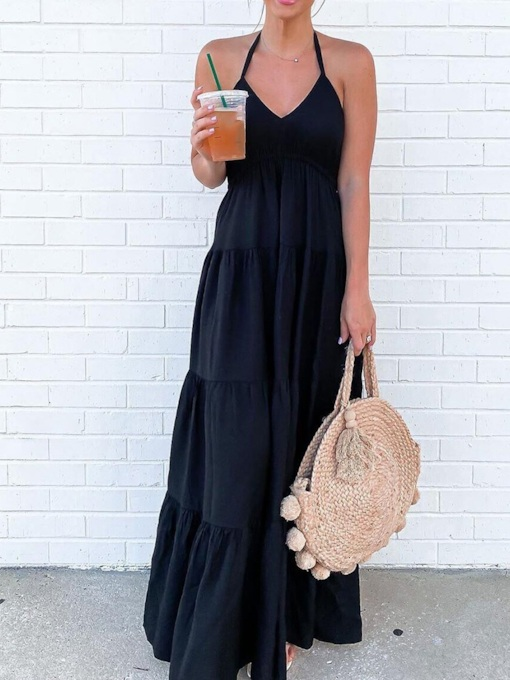 Sleeveless V-Neck Floor-Length Backless Casual Women's Dress