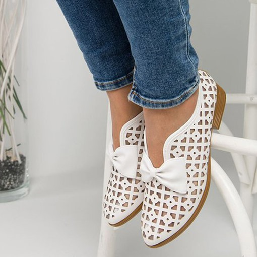 Pointed Toe Block Heel Slip-On Hollow Casual Thin Shoes