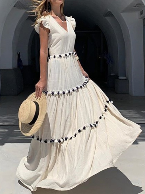 Floor-Length Short Sleeve Patchwork V-Neck Summer Women's Dress