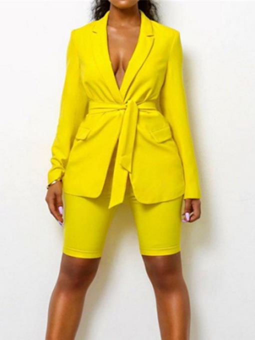 Pocket Sexy Coat Plain Pencil Pants Women's Two Piece Sets