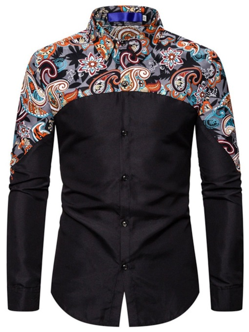 Fashion Floral Casual Print Lapel Single-Breasted Men's Shirt