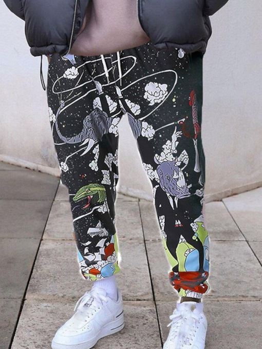 Pencil Pants Print Fall Slim Men's Casual Pants
