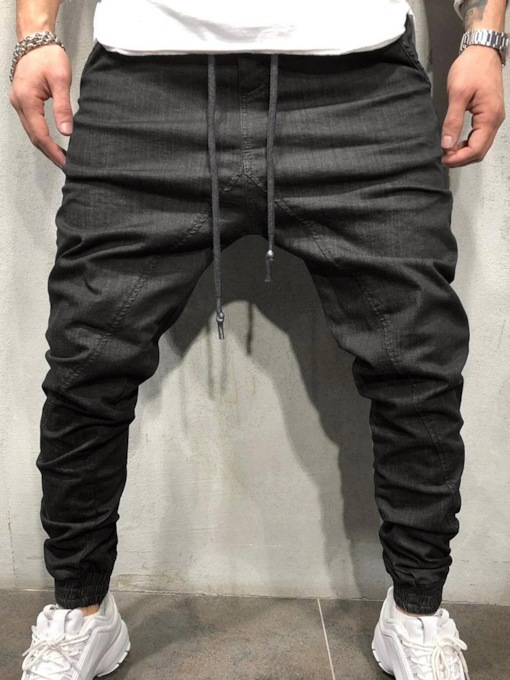Plain Pencil Pants Mid Waist Men's Jeans