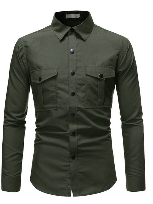 Casual Plain Lapel Pocket Single-Breasted Men's Shirt