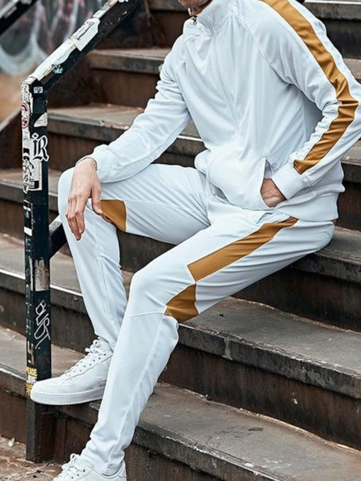 Color Block Sports Patchwork Pants Spring Men's Outfit