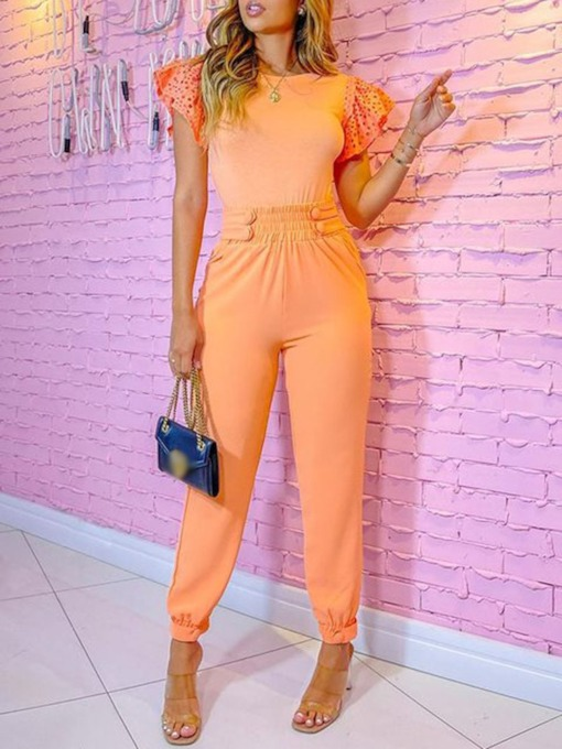Plain Patchwork Full Length Fashion Slim Women's Jumpsuit