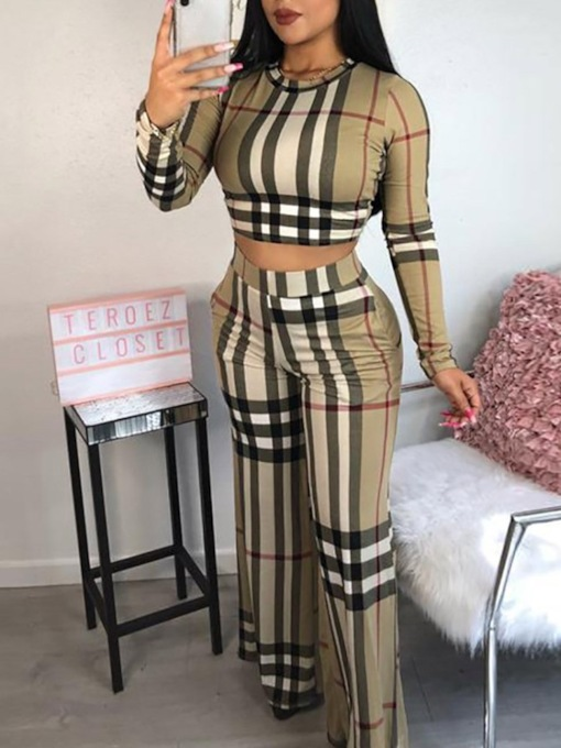 Pants Stripe Fashion Print Round Neck Women's Two Piece Sets