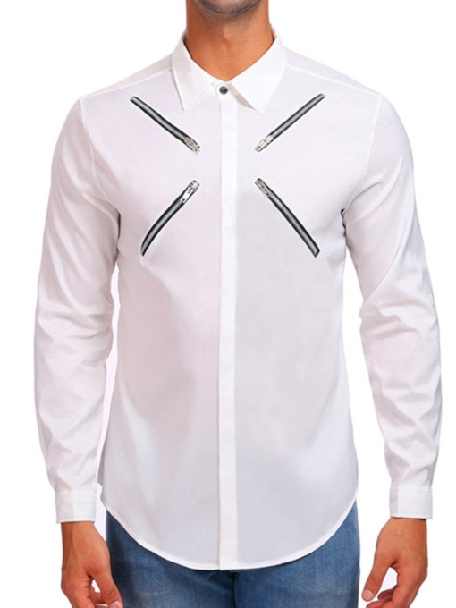 Casual Lapel Zipper Spring Men's Shirt