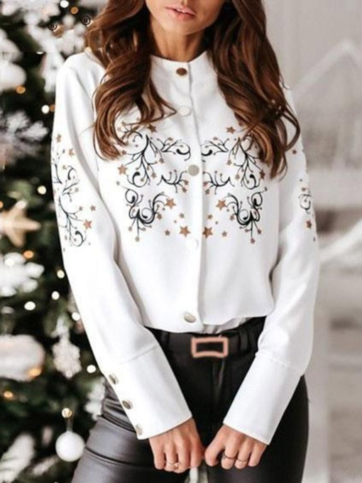 Regular Floral Stand Collar Button Long Sleeve Women's Blouse
