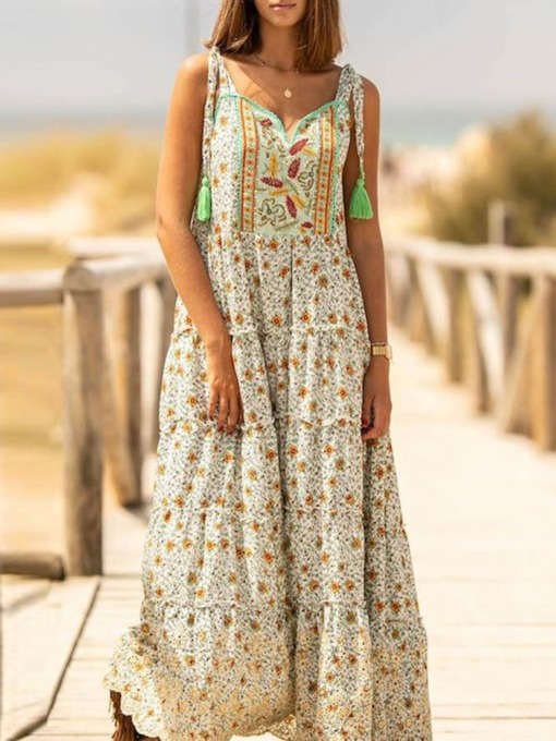 Casual Ankle-Length Print Sleeveless Summer Women's Dress
