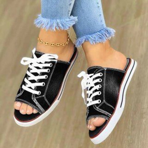 Slip-On Lace-Up Toe Ring Flat With Plain Slippers