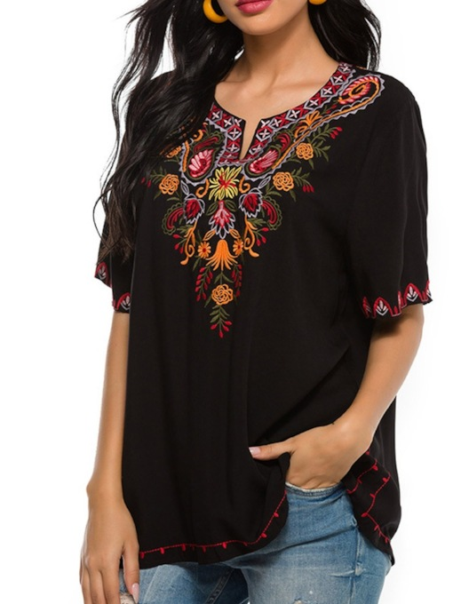 Embroidery Floral Regular Round Neck Standard Women's Blouse