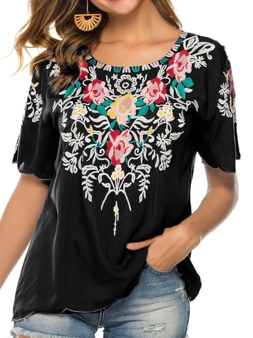 Round Neck Regular Embroidery Floral Short Sleeve Women's Blouse