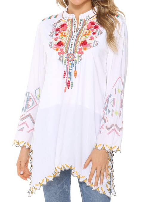 Floral Embroidery Regular Mid-Length Women's Blouse