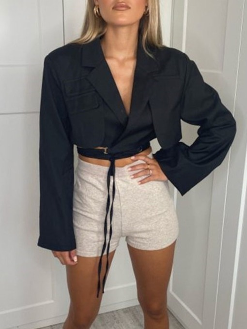 Lace-Up Plain Long Sleeve Notched Lapel Summer Women's Casual Blazer