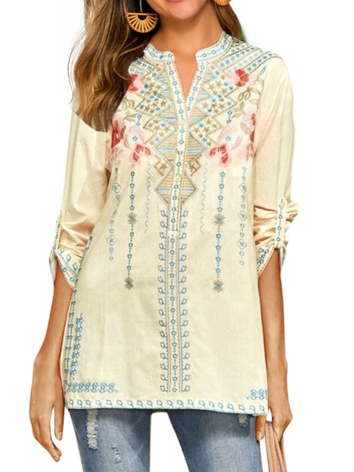 Regular Color Block Embroidery Mid-Length Women's Blouse