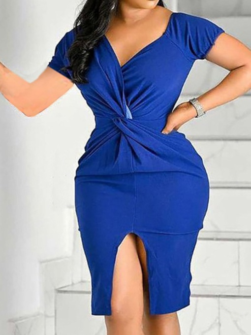 Short Sleeve Knee-Length V-Neck Split Sexy Women's Dress