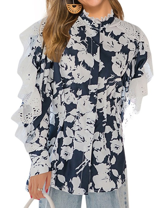 Stand Collar Floral Lace Long Sleeve Women's Blouse