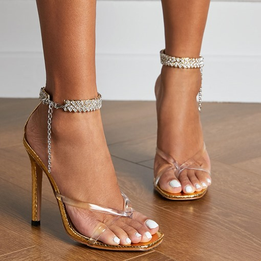 Line-Style Buckle Stiletto Heel Thong Banquet Sandals