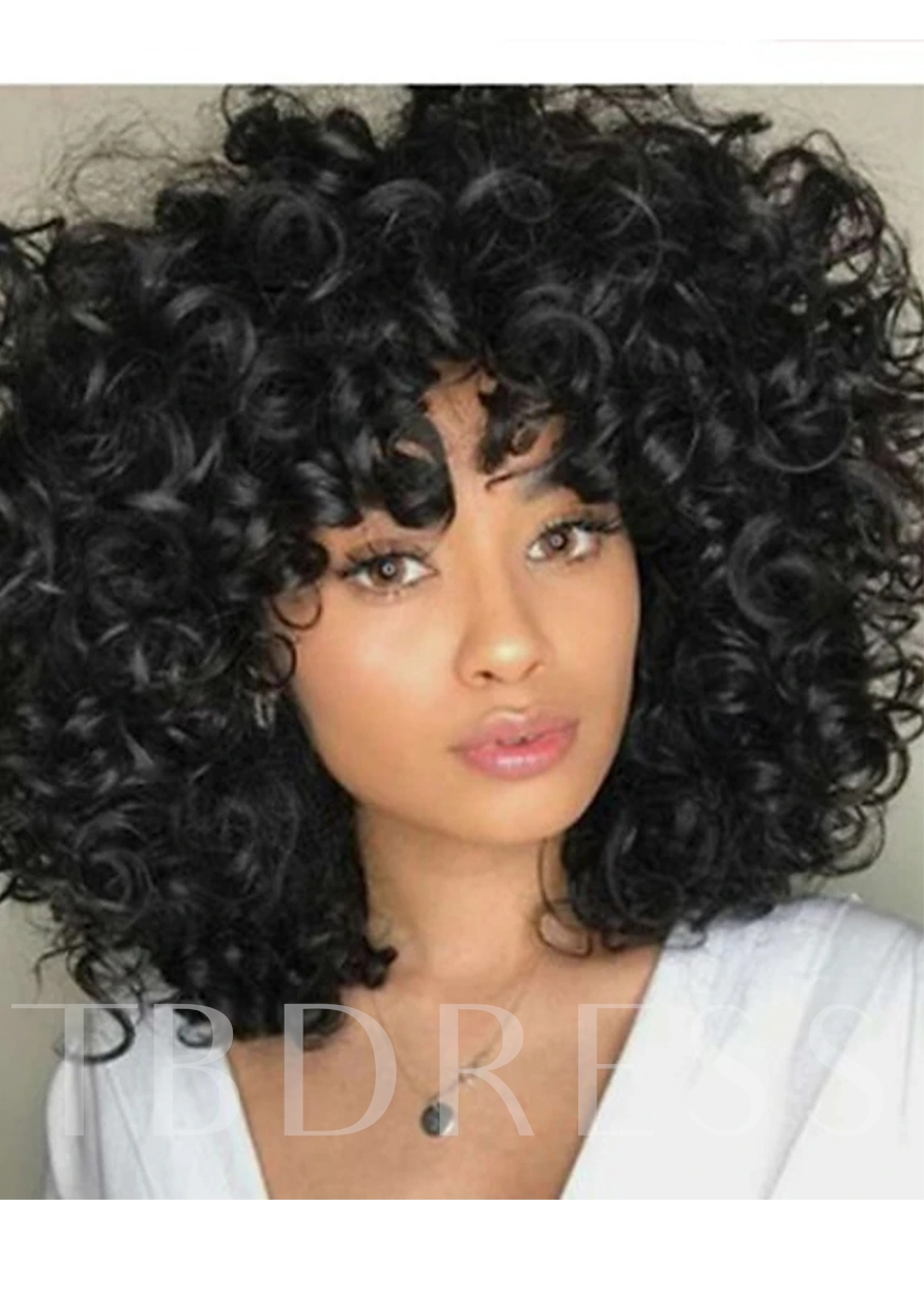 Medium Hairstyles Women's Big Curly Synthtic Hair Capless 120% 16 Inches Wigs