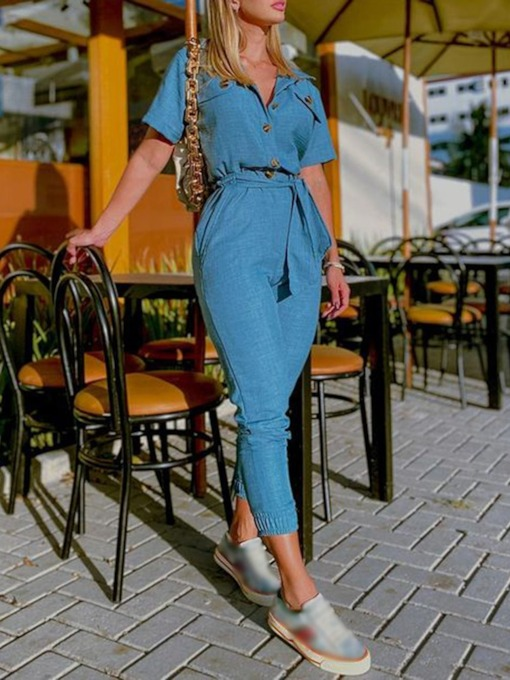Button Plain Fashion Ankle Length Slim Women's Jumpsuit