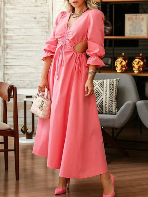 Three-Quarter Sleeve Lace-Up V-Neck Ankle-Length Plain Women's Dress
