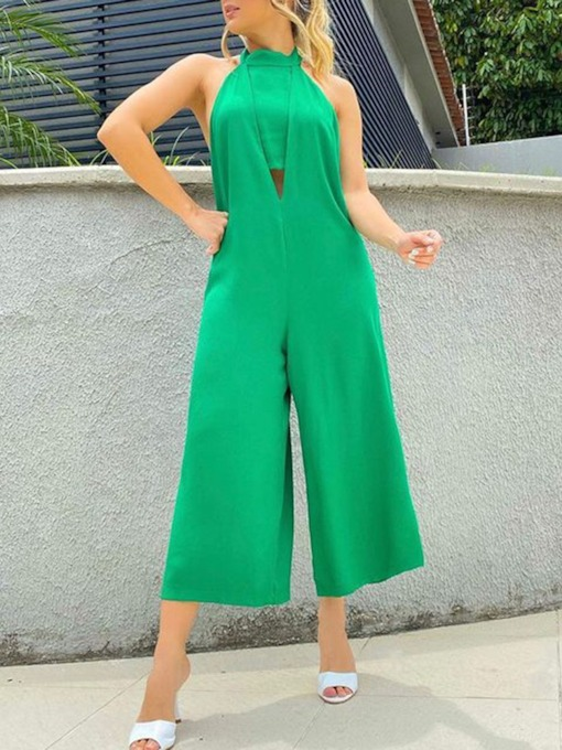 Fashion Plain Backless Ankle Length Loose Women's Jumpsuit