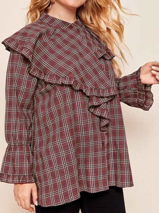 Print Stand Collar Plaid Mid-Length Women's Blouse