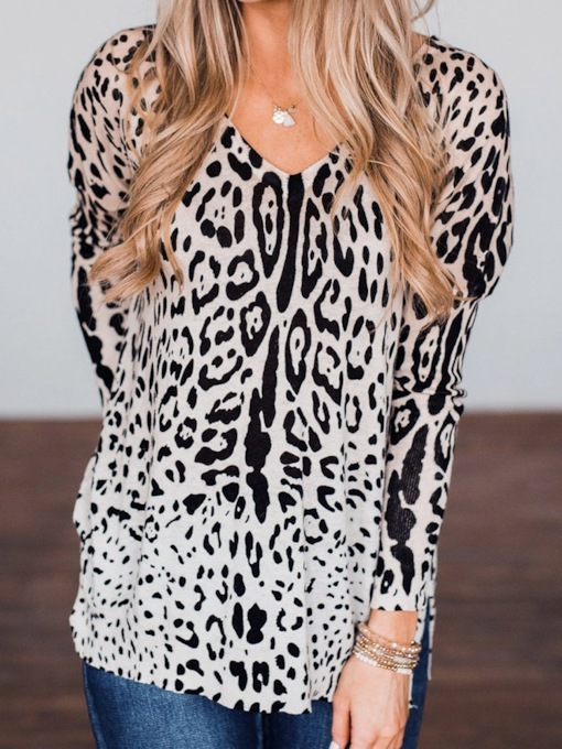 Mid-Length Leopard V-Neck Long Sleeve Fashion Women's T-Shirt