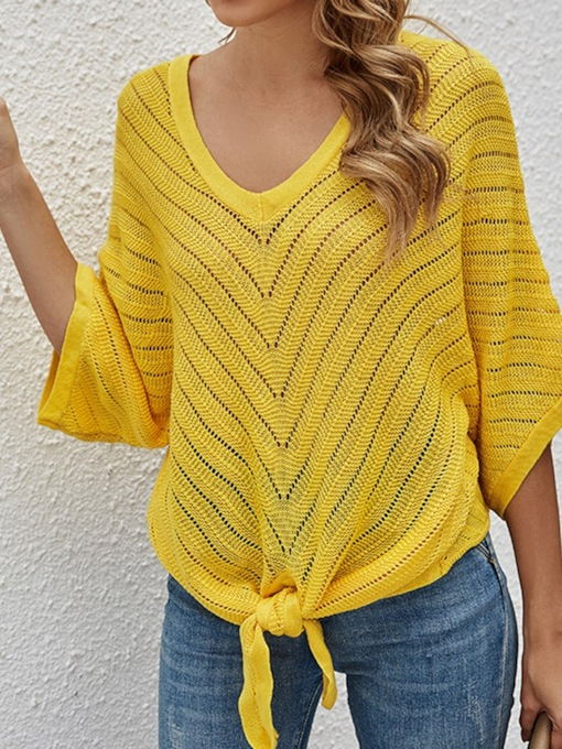 Batwing Sleeve Thin Patchwork Half Sleeve Hollow Women's Sweater