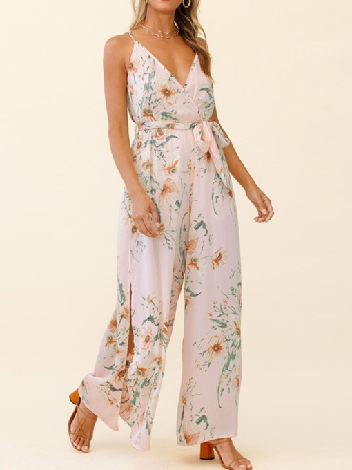 Print Full Length Sexy Floral Loose Women's Jumpsuit