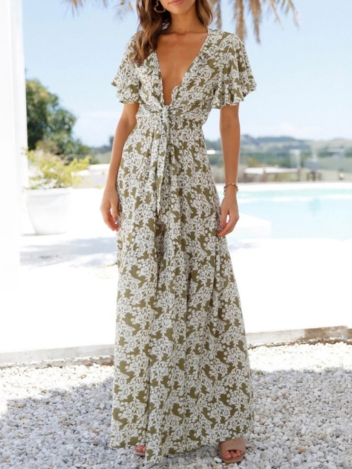 Travel Look Floral Full Length Print High Waist Women's Jumpsuit