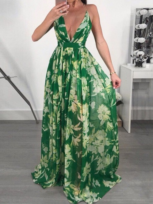 Floral Maxi Dress Backless V-Neck Sleeveless Floor-Length Floral Women's Dress