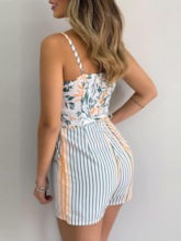 Floral Shorts Lace-Up Western Slim Women's Rompers