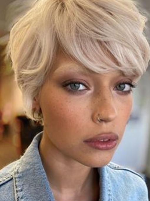 Women's Pixie Cut Short Hairstyles Straight Blonde Synthetic Hair Capless 8 Inches 120% Wigs