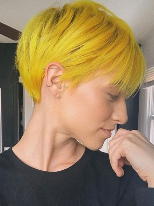 Pixie Cut Short Hairstyles Women's Straight Synthetic Hair Capless 120% 6Inch Short Wigs