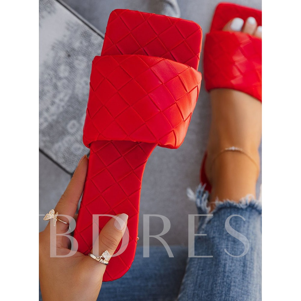 Slip-On Woven Toe Ring Flat With Casual Slippers