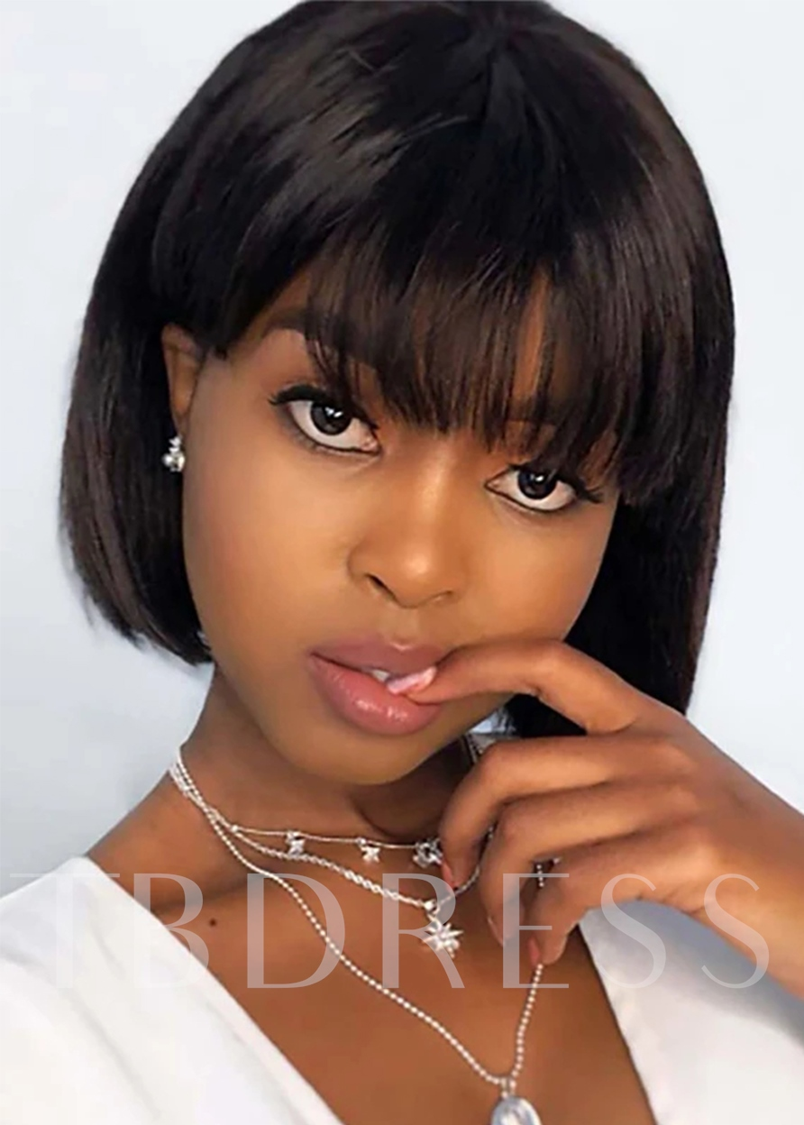 Short Bob Hairstyles Women's Straight Human Hair Capless Wigs With Bangs 120% 10 Inches Wigs