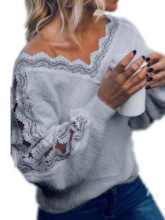 Patchwork V-Neck Standard Lace Women's Sweater