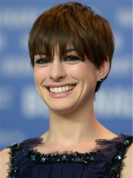 Anne Hathaway Pixie Cut Hairstyles Straight Human Hair With Bangs Capless 10 Inches 120% Wigs