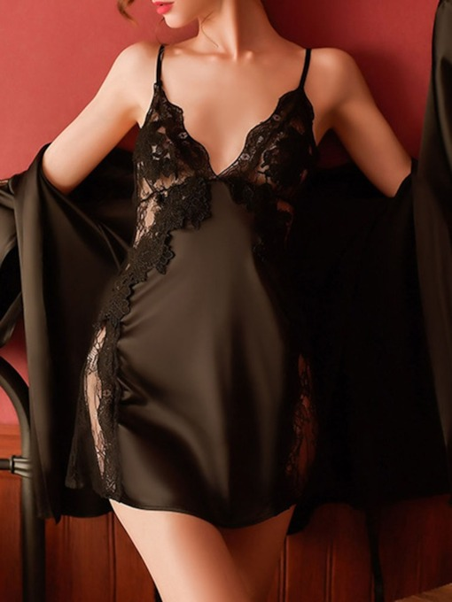 Plain Lace Hollow Sexy Women's Night-Robes