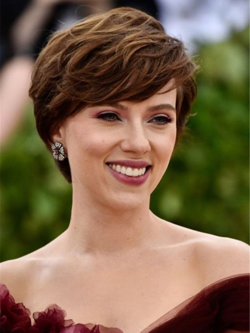 Scarlett Johansson Hairstyle Women's Layered Wavy Human Hair With Bangs Capless 120% 12 Inches Wigs